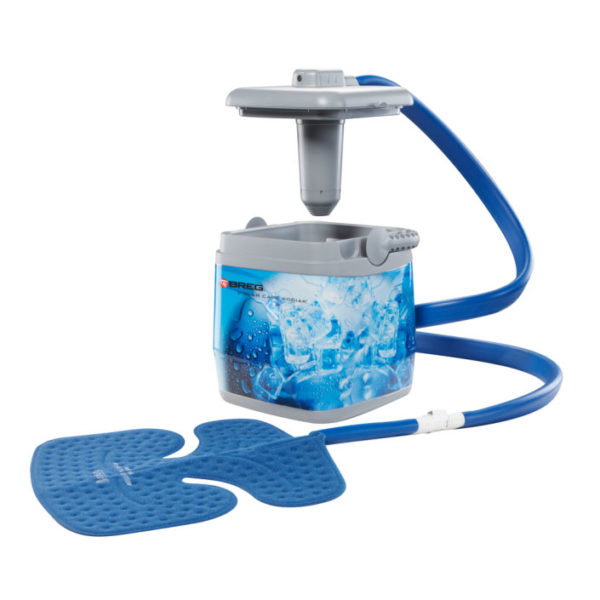Polar care cooling unit with pad attached and lid raised